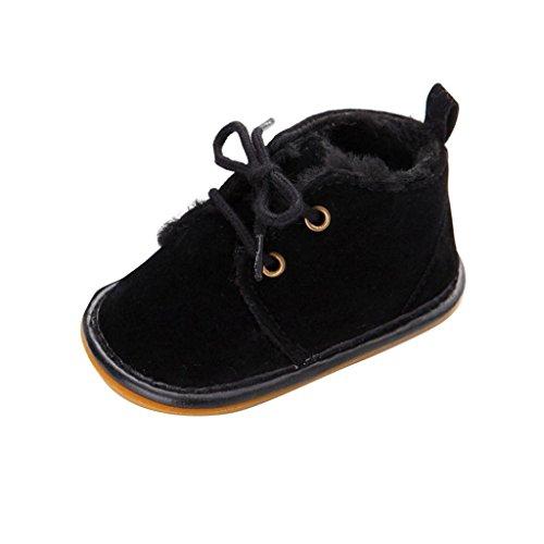 WOCACHI Baby Kleinkind Säuglings Schnee Stiefel Schuhe Gummisohle Prewalker Krippe Schuhe Krabbelschuhe (11, Schwarz)