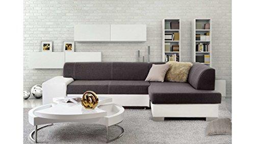 Justyou mepol divano angolare divano letto tessuto a strutturale finta pelle (axlxp): 73x268x167 cm grigio bianco penisola a destra