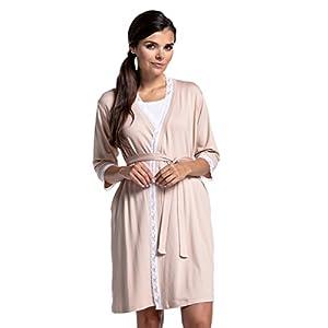 Zeta-Ville-Premam-CamisnBata-Pijama-Mezcla-Y-COMBINA-para-Mujer-591c-Bata-Beige-EU-44-2XL