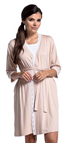 Zeta Ville Damen Still-Nachthemd/Pyjama/Morgenmantel Mischen&Kombinieren - 591c (Morgenmantel - Beige, EU 36, S)