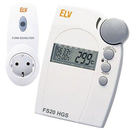 FS20 HGS Funk Hygrostat Spar-Set Luftfeuchtigkeit und Temperatur Messen und Schalten - Mit 1x Funk-Steckdose im Set