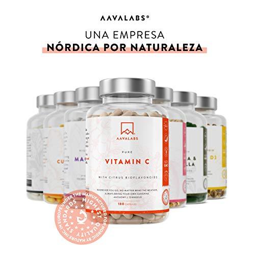 41yKpAzoGaL - Vitamina C Pura Altamente Concentrada - Más de 1000 mg por Dosis Diaria [1027 mg] - 180 Cápsulas - Con Flavonoides de Fruta Cítrica, Camu Camu y Acerola - Complemento Alimenticio 100% Vegano