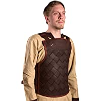 Ready For Battle LARP Hombres Piel Armadura Viking Negro o Marrón Tamaño S de XL Medieval Combate de exhibición Vikingo, marrón, large