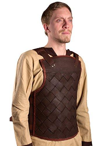 Einfach Epic Kostüme (Ready For Battle LARP Männer Lederrüstung Viking Schwarz oder Braun Größe S-XL Mittelalter Schaukampf Wikinger (Braun,)