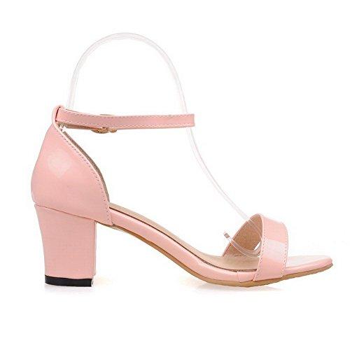 VogueZone009 Donna Luccichio Pelle Di Maiale Fibbia Tacco Medio Heeled-Sandals Rosa