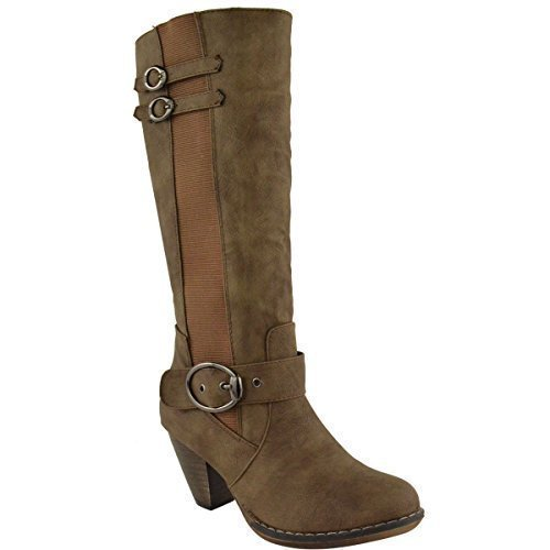 LADIES WOMENS MID LOW BLOCK HEEL KNEE HIGH CALF WARM WINTER RIDING...