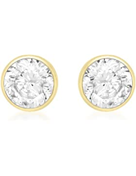 Carissima Gold Damen-Ohrstecker 18ct 5mm Round Stud Earrings 750 Gelbgold Zirkonia transparent Rundschliff - 7.57.7529