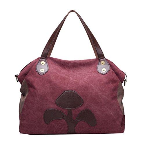 ZKOO Damen Vintage Canvas Schultertasche Handtasche Grosse Kapazität Hobo Shopper Henkeltasche Umhängetasche Violett