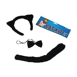 Black Cat Fancy Dress Set Ears Tail & Bow Tie Halloween Party (accesorio de disfraz)