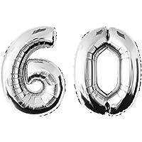 Globo de lámina 60 argentado Numero enorme 100 cm rellenable con helio o aero fiesta de cumpleaños