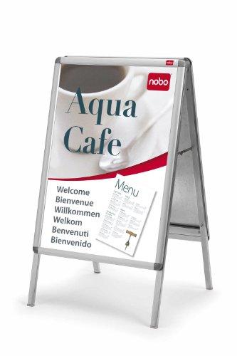 Preisvergleich Produktbild Nobo Plakatständer mit elegantem Aluminiumrahmen (2 Fächer, DIN A1)