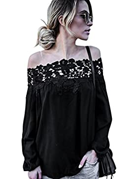 ba zha hei-Mujer Ropa Mujer Camiseta,❤️Ba Zha Hei Rayas Primavera y verano Mangas Largas Blusa Hombros Descubiertos...