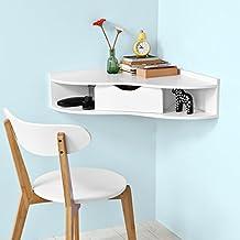 SoBuy®Mesa de ordenador armario de pared, Mesa de escritorio con un cajón, blanco,FWT26-W,ES