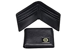 NHL Boston Bruins Men's Leather RFiD Safe Travel Wallet, 4.25 x 3.25
