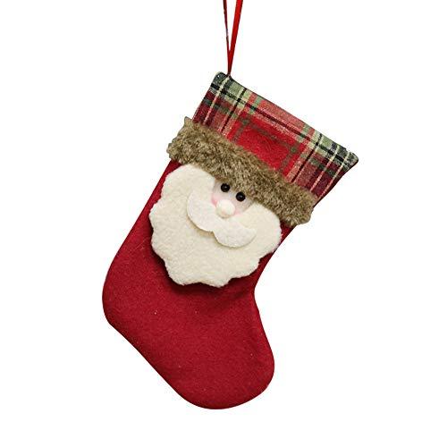 (Quaan Süßigkeiten Tasche Weihnachten Geschenke Baum Ornament Strumpf Weihnachtsmann Claus Schneemann Socke Dekor Blume Socken Baumwolle Niedlich Festival Holländer Zubehör lieblich)