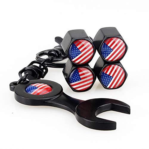 4pcs / 1 Set Stati Uniti Bandiera della gomma della ruota degli Stati Uniti Caps Stati Uniti 3D Bandiera degli Stati Uniti auto della gomma dei pneumatici Copertura della valvola della gomma + Chiave