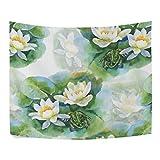 Watercolor blanco water-lilly flores patrón de sin costuras con rana poliéster decoración...