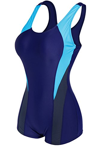 CROSS1946 Damen Figurformend Color-Block Sport Bademode Badeanzug Blau-2 Large