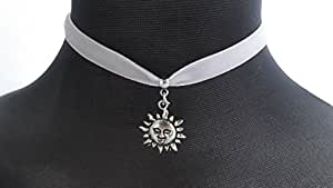 Dunns-jewels Classic 10mm Gothic Velvet choker in White with a 20mm sun charm