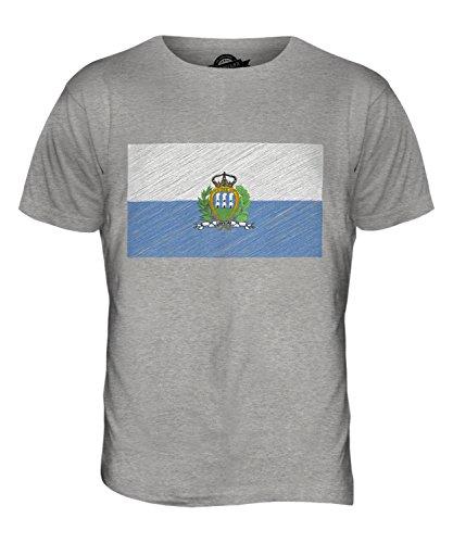 CandyMix San Marino Kritzelte Flagge Herren T Shirt Grau Meliert