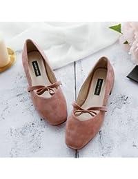 Xue Qiqi Zapatos de la Corte Retro zapatos única cabeza femenina áspero y baja con pajarita college sweet zapatos...