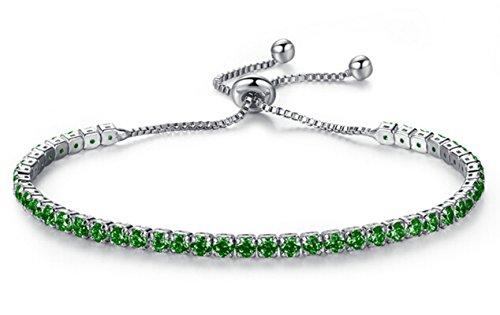 AnaZoz Bracelet Alliage Femme Incrusté AAA Rond Zircone Cubique Cluster Ajustable Vert 16CM