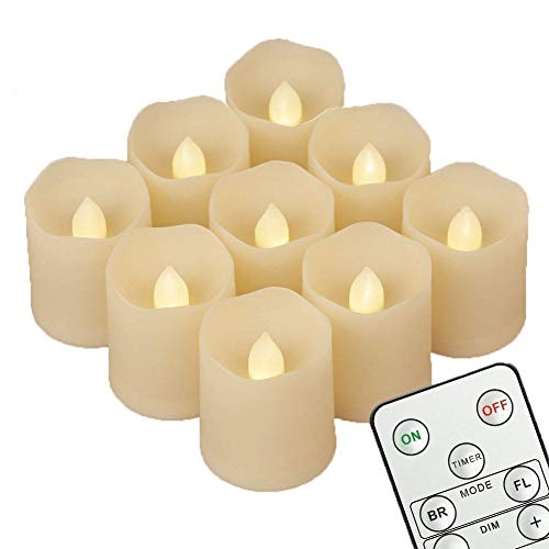 fernbedienung fuer led kerzen 9 LED Kerzen [Timer , Fernbedienung & Batterien] - 3 Modi Dimmbare Teelichter LED Votive Weihnachtskerzen für Weihnachtsbaum, Weihnachtsdeko, Hochzeit, Geburtstags, Party