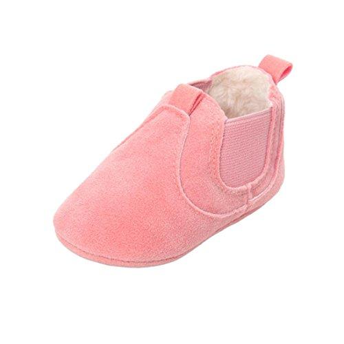 URSING Baby Kleinkind Jungen Mädchen Plüsch Weich Sohle einzig alleinig Rutschfest Warm Samt Schnee Stiefel Unisex Kinder Super cool Sneaker Solide Farbe Krippenschuhe (12 ~ 18 Monate, (Mädchen Super Stiefel)