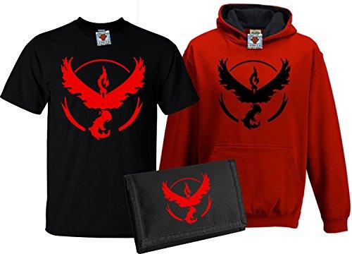 Bullshirt da bambini deluxe maglietta Valor, Contrasto Felpa Con Cappuccio & Portafoglio Set Black / Red & Black / Black 9-11 Anni - Red Mystic Jacket