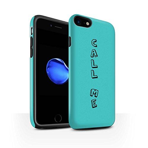 STUFF4 Matte Harten Stoßfest Hülle / Case für Apple iPhone 8 / Blau/Chic Muster / Gekritzel Wörter Kollektion Blau/Ruf Mich An