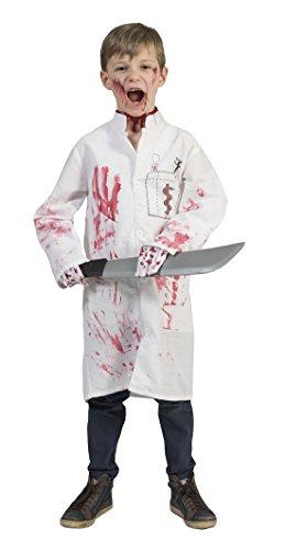 (Zauberclown Halloween Kinder Kostüm- blutverschmierter Arztkittel- Metzger Blutspritzer, 158-164, 13-14 Jahre, Weiß)