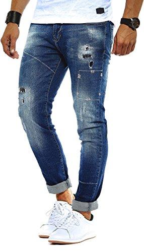 LEIF NELSON Herren Hose Jeans Stretch Jeanshose Freizeithose Denim Slim Fit LN9925BL; W34L32, Blau