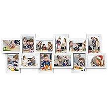 Songmics Marcos de fotos Capacidad de 12 fotos (10 x 15 cm) 89 x 33 cm MDF Blanco RPF22W