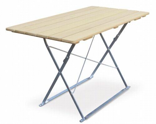 Table de terrasse 120 x 70 cm-edition euroLiving naturel en acier galvanisé