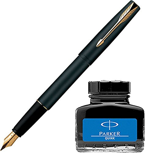 Parker Frontier Matte Black GT Fountain Pen + Quink Ink Bottle - Blue (30ML)  available at amazon for Rs.548
