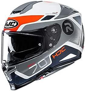 Hjc Helmets Herren Nc Motorrad Helm Weiss Grau Orange M Auto