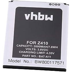 vhbw Li-ION Batterie 2000mAh (3.8V) pour téléphone Smartphone Acer Liquid Z320 Dual SIM, Liquid Z330, Liquid Z330 LTE Dual SIM, Liquid Z410, T01