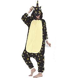 Unicornio Pijama Animal Entero para Adultos Pijama Mono Animal para Mujer Hombre Disfraz para Navidad con Capucha Invierno Lana