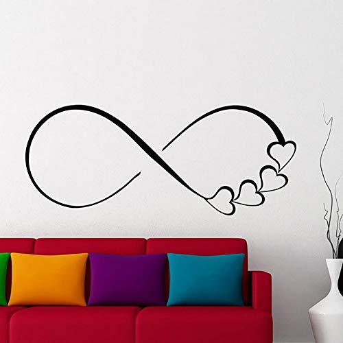 zqyjhkou Adesivo Murale Cuore e Simbolo di Infinito Applique Amore Logo Famiglia Adesivo Camera da Letto Home Decor Regalo di Nozze Coppia57X19CM