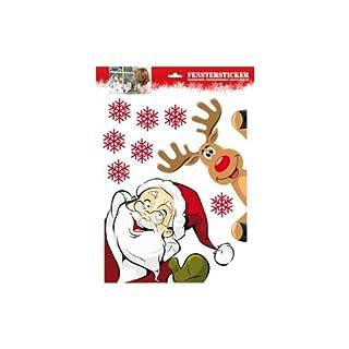 K&L Fensterbilder, Fenstersticker - 9-teilig - mit Weihnachtsmann & Rentier - Bogen: 33x47 cm - Art. Nr. fb10501 - wiederverwendbar, selbstklebend, von beiden Seiten sichtbar