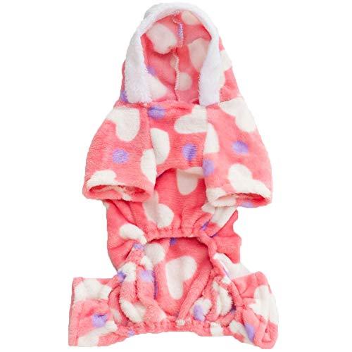TGD Pet Kleidung Für Hundemädchen Weiche Samt Rosa Herz Katzen Warm Pyjamas Welpen Hoodie Hooded Jumpsuit,S