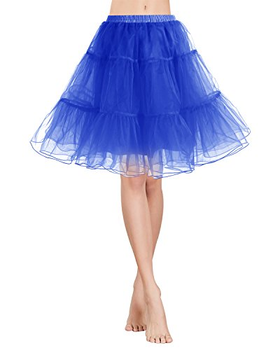 Gardenwed Vintage Damen 1950er Rockabilly Mini Tutu Kleid Retro Petticoat Unterrock Royal Blue XL (Womens Blue Prom Dresses)