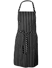 Sanwood Black Stripe Apron With 2 Pockets Chef Waiter Kitchen Cook