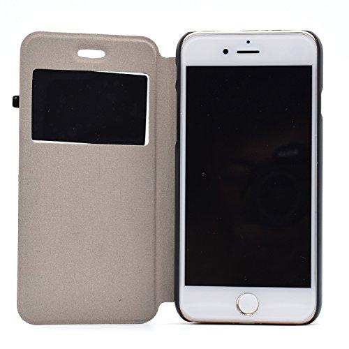 Voguecase® für Apple iPhone 7 4.7 hülle,(C/Grün Löwenzahn) Sichtfenster Kunstleder Tasche PU Schutzhülle Tasche Leder Brieftasche Hülle Case Cover + Gratis Universal Eingabestift C/Blau Feder