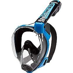 Cressi Duke Full Face Mask Masque Complet/Integral conçu pour Snorkeling avec Tuba Dry Mixte Adulte, Noir/Bleu, S/M