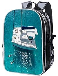 74cce4a2ec Zaino per computer portatile di fascia alta, con visione aerea di giovani  donne che nuotano su un anello rosa in acqua,…