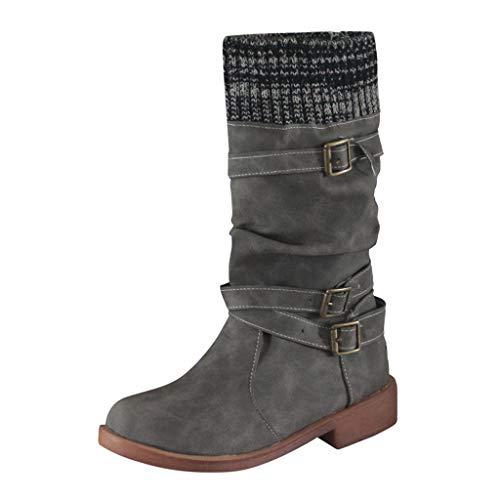 1640 Vintage Classic Wadenlänge Low Heel Round Toe Socken Booties Elegant Damen Stiefel Womens Flats Niedriger Schnallenriemen Western Middle Tube Boots Stiefeletten TäGliche Dating Universität -