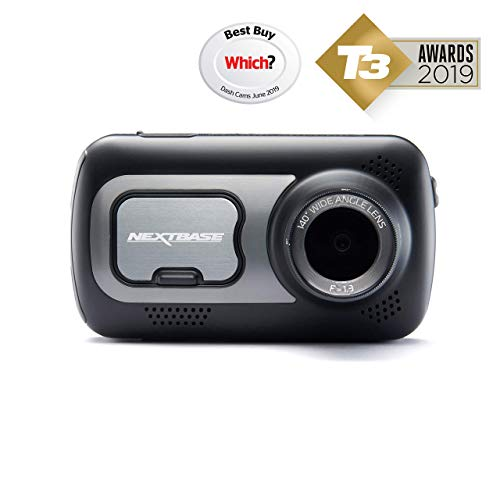 NEXTBASE 522GW Series 2 Car Dash Camera Full 1440p/30fps HD DVR Cam 140 degrees Wide Viewing Angle WiFi and Bluetooth Alexa Compatible GPS Polarising Filter Black (Renewed)