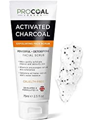 Face Scrub, Premium Exfoliating Charcoal Face Scrub 75ml by PROCOAL - Instantly Reveals Skin's Natural Radiance, Exfoliating Facial Scrub & Charcoal Face Wash Combined For Men & Women - Made in UK