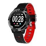 Nabvin Fitness-Tracker, Fitness-Tracker, Aktivitätstracker, Smart-Armband mit Herzfrequenz, Schrittzähler, Kalorien und Schrittzähler, Schlafüberwachung für Android und iOS, schwarz/rot